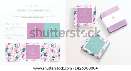 Natural logo and packaging design template. Natural soap package mockup created by vector. Watercolor floral pattern for branding and corporate identity design. #1426980884