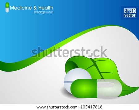 Natural medical pills or capsule with green leaves on wave background. EPS 10.