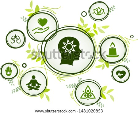 natural mindfulness / meditation / relaxation icon concept – green mindful living, awareness, stress-relief - vector illustration