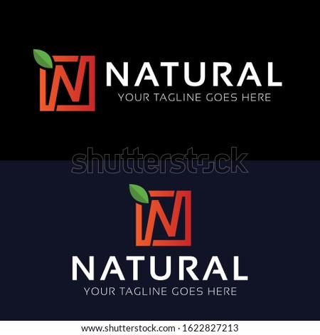 Natural N Letter Logo icon design template elements