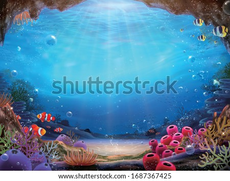 Natural ocean bottom background with colorful coral reef and abundant marine life, 3d illustration Сток-фото ©