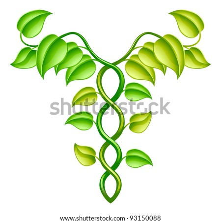 Natural or alternative medicine concept of two vines intertwined in a caduceus style.