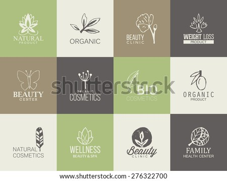 Natural, organic and beauty logo template with hand drawing icons