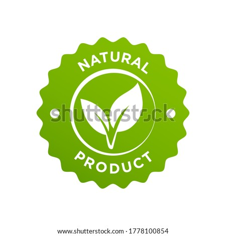 Natural organic ingredients green leaf label stamp. Vector icon vegan food or nature ingredients nutrition, organic bio pharmacy and natural skincare cosmetic product package logo design template