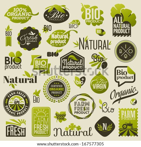Natural organic product labels, emblems and badges. Set of design elements