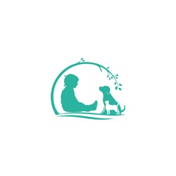 Natural pet care modern logo, illustration boy caring for animals, dog and cat nature symbol, notice canine & puss sign.