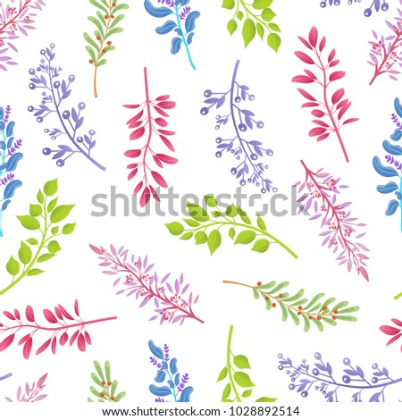 Natural plants branches inside endless texture. Stems with leaves in seamless pattern. Thin branches from wild trees and bushes vector illustration.