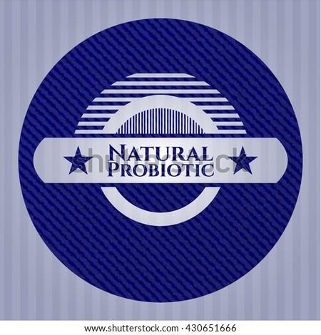 Natural Probiotic emblem with jean background