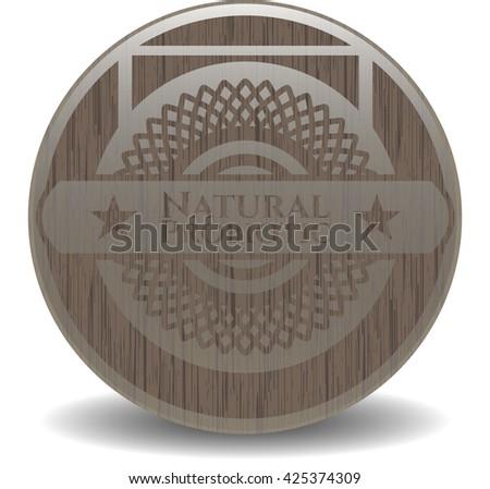 Natural Probiotic wooden emblem. Retro