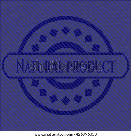 Natural Product badge with denim texture