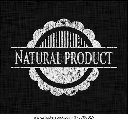 Natural Product chalkboard emblem written on a blackboard