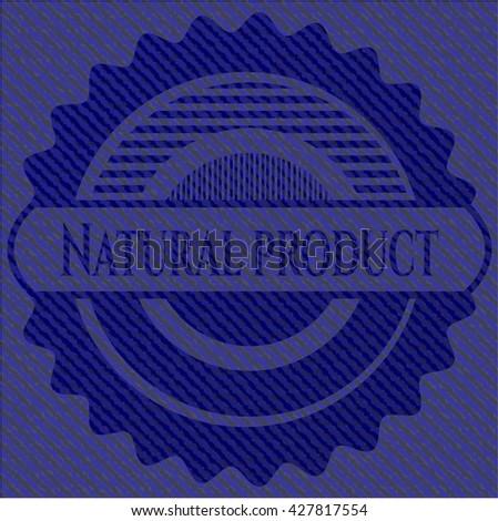Natural Product jean or denim emblem or badge background