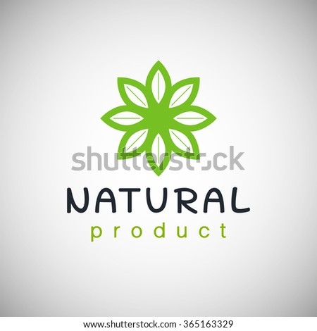 Natural product logo design template Vector illustration. Branch with green leaves