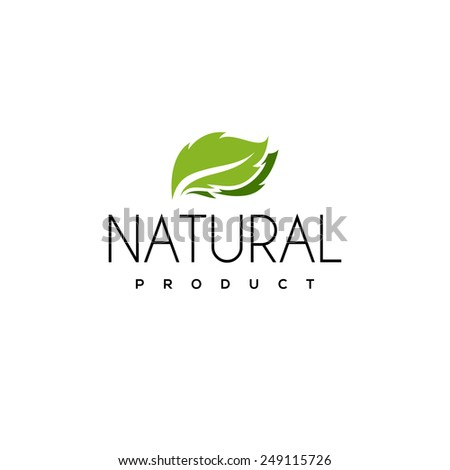 Natural product logo design vector template with leaf