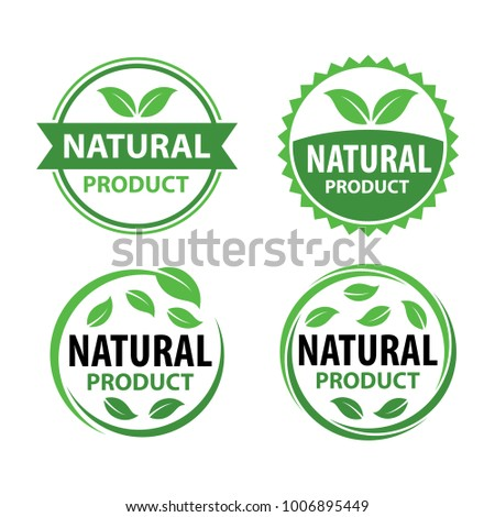 Natural Product Logo Vector Set with Badge Design