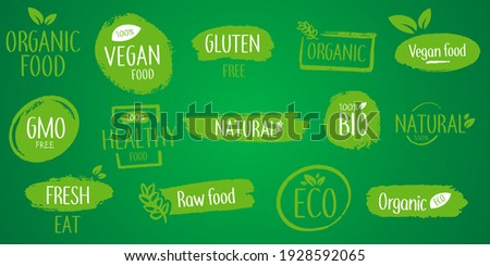 Natural product. Set of eco, bio, organic, fresh, healthy, 100 percent, nateral food.  Collection of emblem cafe, badges, tags, packaging Photo stock ©