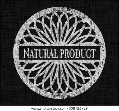 Natural Product written with chalkboard texture
