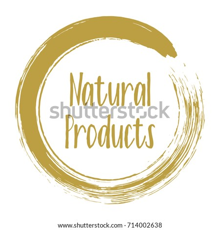 Natural products icon, package label vector graphic design. Natural origination and ingredients products label, sign, round stamp isolated clip art, circle tag or sticker vector emblem.