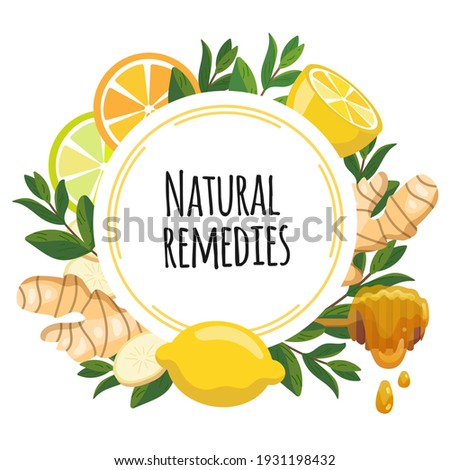 Natural remedies frame banner. Lemon, ginger, honey, mint for cough remedy. Home treatments for flu, viruses and ache. Vector Illustration of natural medicine and boost immunity.  Stockfoto ©