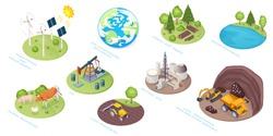 Natural resources icons, eco nature and renewable energy sources, vector isometric. Natural resources of water, sun and wind, natural gas and coal, land and animal, air atmosphere and forest materials