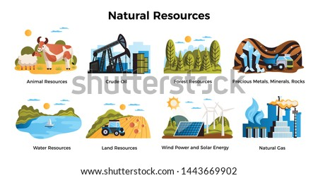 Natural resources set with land and water resources symbols flat isolated vector illustration