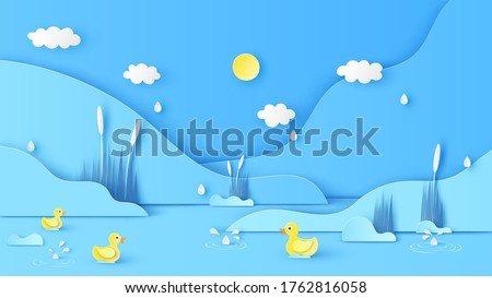 Natural scenery in Summer with drizzle and yellow ducks swimming in the river. Paper cut and craft style. vector, illustration.