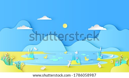 Natural scenery in summer with yellow ducks swimming in the river and rabbit on meadow. Swamp scenery. paper cut and craft style. vector, illustration.