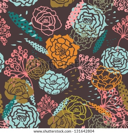 Natural seamless background with Flowers, illustration, vector