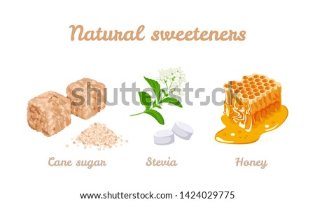 Natural sweeteners set. Vector stock illustration of honey, stevia plants and pills. Brown cane sugar cubes and sugar pile isolated on white background. Cartoon flat simple style.