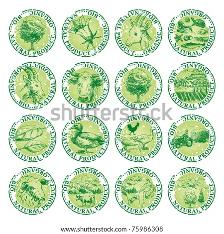 natural tags - stock vector