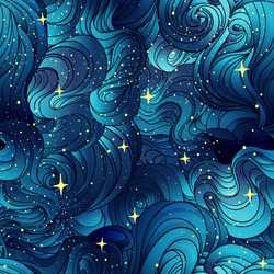 Natural texture. Decorative hand drawn doodle ornamental curly seamless pattern. Vector endless background. Starry night line art drawing. Splash ocean, clouds or hair.