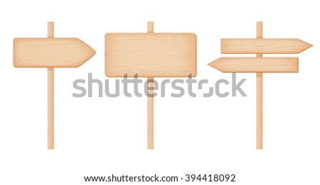 Natural textured wooden signboards with knots and cracks on a poles.