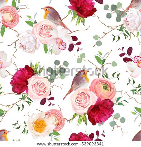 Natural vector seamless pattern with cute robin birds and bouquets of peachy roses, white and burgundy red peony, orchid, eucalyptus, green plants mix and ranunculus in japanese style