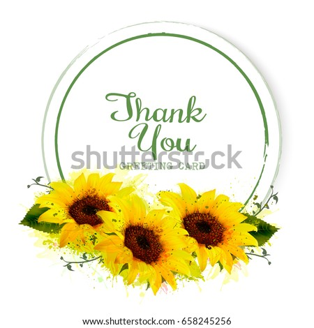 stock-vector-natural-vintage-greeting-card-with-yellow-sunflowers-vector