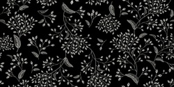 Natural vintage seamless pattern. White branches and berries on black background. Oriental style. Vector illustration. For design textiles, paper, wallpaper.