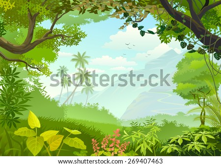 stock vector natural window of forest 269407463 - Каталог — Фотообои «Природа, пейзаж»