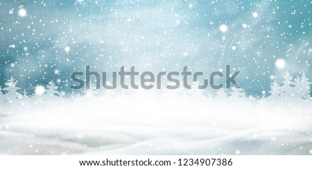 Natural Winter Christmas background with blue sky, heavy snowfall, snow, snowy coniferous forest, light garlands, snowdrifts. Holiday winter landscape for Merry Christmas. Christmas scene. vector.