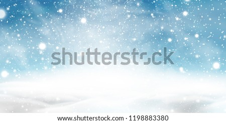 Natural Winter Christmas background with blue sky, heavy snowfall, snowflakes in different shapes and forms, snowdrifts. Winter landscape with falling christmas shining beautiful snow. vector.  - Shutterstock ID 1198883380