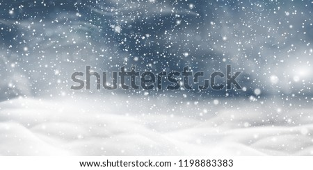 Natural Winter Christmas background with storm clouds, sky, heavy snowfall, snowflakes in different shapes, snowdrifts. Winter landscape with falling christmas shining beautiful snow. vector.