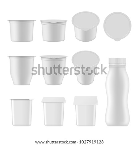 Natural yogurt vector realistic package mockup set. White blank plastic containers for dessert, yogurt, ice cream isolated on white background.