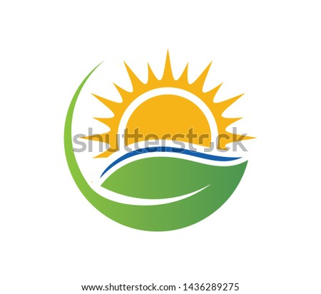 Naturally Made Logo. Plant and Sun. Eco organic green Farm natural fresh products Logotype icon. Minimalistic, abstract logo of a leaf - Vector #1436289275