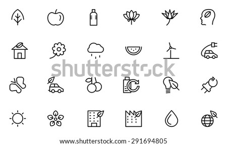 nature and ecology line vector
