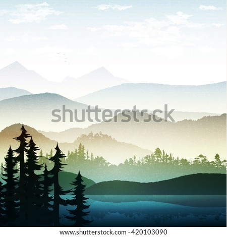 Nature and landscape Summer landscape of nature. Landscape mountain  forest and lake. Tree near lake at  foot of the mountains . Beautiful natural landscape. Mountain forests and rivers. National Park