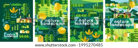 Nature and landscape. Vector art abstract illustration of village, trees, bushes, lemon, flowers, houses for poster, background or cover. Agriculture and garden