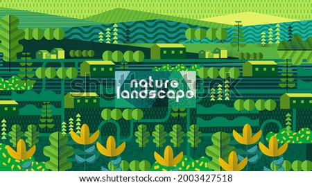 Nature and landscape. Vector art abstract illustration of village, trees, forest, bushes,  flowers, houses for poster, background or cover. Agriculture and garden