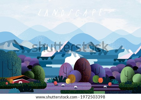 Nature and landscape. Vector illustration of trees, forest, mountains, flowers, plant, field, farm and village. Picture for background, card or cover