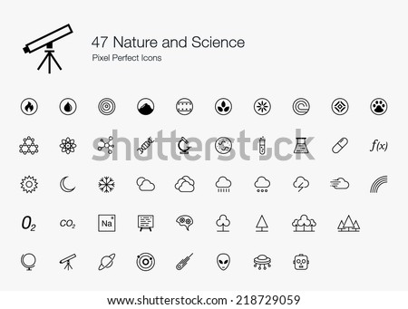 Nature and Science Pixel Perfect Icons line style