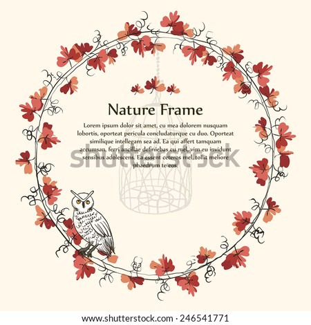 Nature autumn brown leaf vine frame and owl. Template image of nature autumn brown leaf vine frame and white owl.