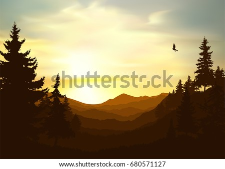 Nature background of mountains panorama. Colorful sunset in wild valley. Windy sky. Brown tones.