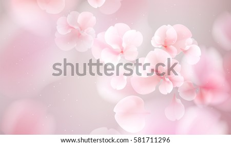 Nature background with blossom branch of pink sakura flowers. Vector template isolated on white background